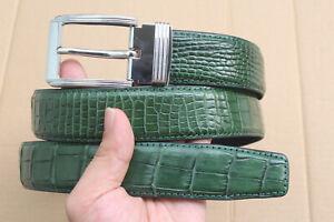 Green Real Alligator Crocodile Leather Skin Men's Belt - W 1.3 inch