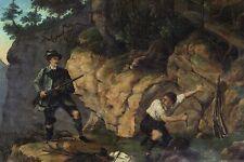 Wildererbild Erwischt nach Gemälde von Traber 1879 Faksimile 4 auf Büttenpapier