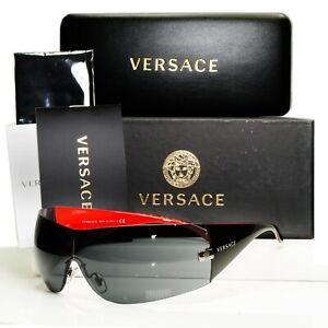 Authentic Versace Sunglasses Black Shield Mens Womens Visor Ski 2054 1001/87