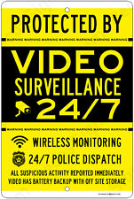 Protected By Video Surveillance CCTV Warning Security Camera Aluminum Sign YL/BL