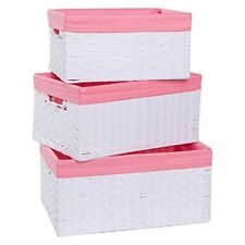 Redmon 3200WHPK Three Pc Basket Set, White/Pink NEW