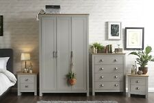 Grey Oak Bedroom Furniture Two Tone 4 Piece Wardrobe Chest of Drawers Bedside