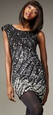 NWT Alice + Olivia Charlie Black Silver Ombre Sequin Dress XS $495