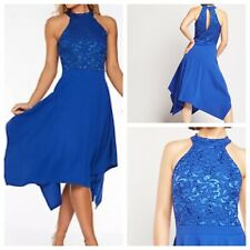 Ladies Blue Dress Size 18 QUIZ Stretchy Lace Top Halter Neck Party NEW NWOT 🌹