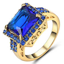 Blue  Sapphire Wedding Ring 18K Yellow Gold Filled Party Jewelry Size 9