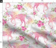 Unicorn Floral Unicorns Spring Mythology Fabric Printed by Spoonflower Bty