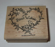 Best Wishes Rubber Stamp Heart Birds Nest Branches Stampin' Up! Retired #2