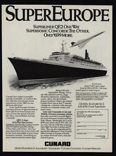 1986 CUNARD QUEEN ELIZABETH 2 Cruise Ship & Concorde Supersonic Jet VINTAGE AD