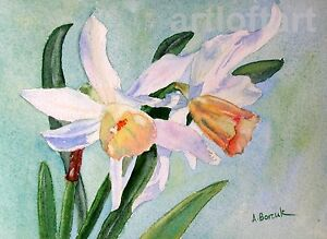 Daffodils #1  FLOWER ACEO Card ART Print by A Borcuk