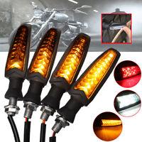 4X Motorcycle Flowing 18 LED Turn Signal Indicator + White DRL + Red Brake Light