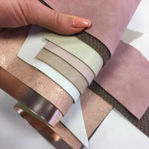 BEIGE and PINK Leather Scrap MIX of Real Sheep Skin Sheets pastel Leather pieces