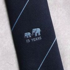15 YEARS ELEPHANT CREST TIE VINTAGE RETRO CLUB ASSOCIATION NAVY 1970s 1980s