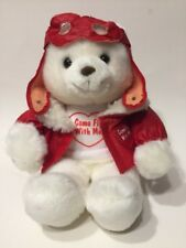Russ Berrie Pilot Bear Plush White Red Faux Leather Jacket Come Fly With Me Toy