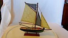 Wooden Hand-made Fishing Boat, Black & Green, Single Mast 4 Sails With Stand