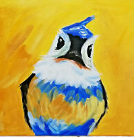 Abstract acrylic original bird painting on canvas 12x12 inches