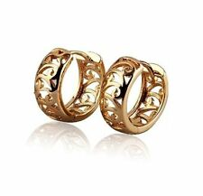 18K Yellow Gold GP Scroll Huggie 13mm Hoop Ladies Earrings E99