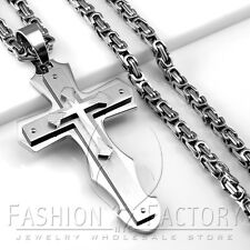 Men Stainless Steel Heavy Large Cross Pendant Box Chain Necklace Silver Tone P62
