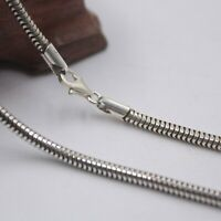 Fine Real S925 Sterling Silver Chain 3mm Men Round Snake Link Necklace 20inch