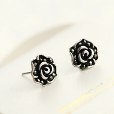 925 Sterling Silver Lady's 11mm Rose Flower Crystal Stud Earrings Antique Gift