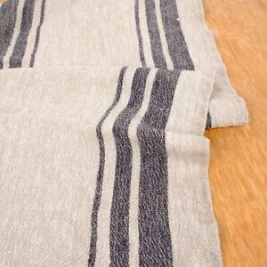 100% linen fabric - extra heavy - french belgium flax dense striped