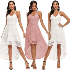 Women Lace Wedding Bridesmaid Spaghetti Strap Party Dress High Low Evening Gown