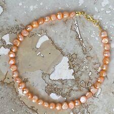 "Handmade Anklet Light Orange Dyed Irregular Freshwater Pearls 9.5"" Gold Tone"