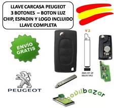 LLAVE CARCASA PEUGEOT 107 308 307 407 V2 VA2 VA6 PLANO LUZ CHIP ID46 433MHZ