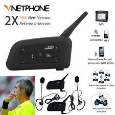 2x Full Duplex Two-way Referee Intercom Walkie Talkie 6 Users Bluetooth Earphone