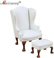 Dollhouse 1/12 Scale Miniature Furniture White Chair and Ottoma