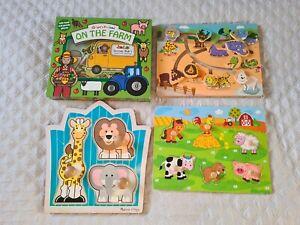 Baby / toddler wooden puzzle jigsaw bundle farm zoo animals used melissa & doug