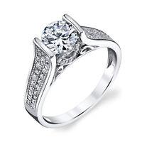 Sterling Silver CZ Illusion Set 1.5 Carat Engagement Wedding Bridal Ring Zircon