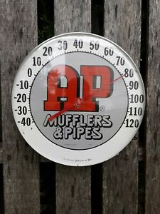Vintage AP Mufflers And Pipes Thermometer, AP Muffler Sign