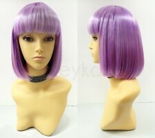 Light Purple Short Bob Wig Straight Bangs Synthetic Cosplay Page Boy 9""