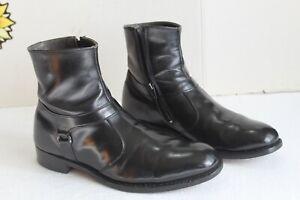 Vintage 1980's Men's Black Leather Men's Ankle Zipp Boots, Size 9.5 C USA
