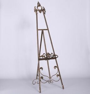French Tall Antiqued Gold Freestanding Metal Easel Wedding Picture Display 165cm