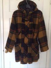David Benjamin Women's Plaid Wool Duffel Coat with Hood Yellow Black Multi Size
