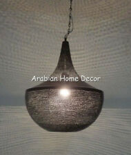 Handcrafted Black Oxidized Moroccan Brass Hanging Lamp Lantern Ceiling Light