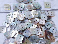 B004 Natural Mother of Pearl Square Craft Sewing DIY Shell Buttons 15mm 50pcs