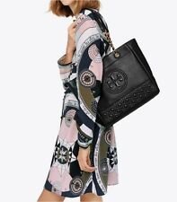 TORY BURCH FLEMING BLACK LEATHER LOGO CHAIN SHOULDER BAG TOTE-$558+ SOLD OUT!