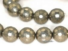 """12MM PALAZZO IRON PYRITE GEMSTONE FACETED ROUND 12MM LOOSE BEADS 15.5"""""""