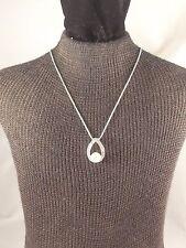 "16"" SAQ Silver Tone Chain Necklace with Rhinestone & Imitation Pearl Pendant"