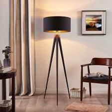 LED-Stehleuchte Benik Schwarz Gold Stoff Gestell Dreibeinig Stehlampe Lampenwelt