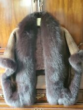 Stylishly Unique!  Sheared Mink Shawl/Vest with Beautiful Fox Trim, Small