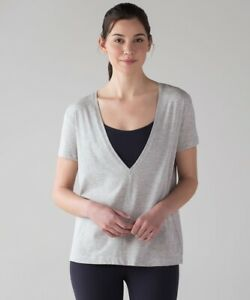 Lululemon Grey Deep Cove T Shirt US 8-12 UK 12-16 EUC Relaxed Fit Run Gym Tee