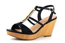 f388c1b5c0ab Wallis Shane Womens UK 7 EU 40 Navy Blue Platform Wedge Heel Open Toe  Sandals