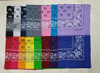 Lot Of 12 Paisley Print Scarf Bandana 100% Cotton Dozen 12 pick any color
