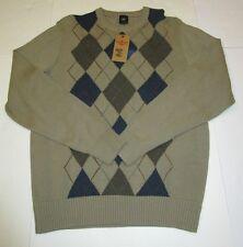 Nwt Mens Dockers Tan Argyle Heavy Plaid Crewneck Sweater Large