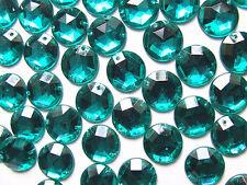30 Emerald Dark Turquoise Beads Acrylic Rhinestones/Gems 15 mm Flat Back Sew On