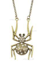 Crystal Bronze Spider Gothic Halloween Costume Jewellery Necklace