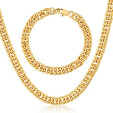 "TRENDY 18CT REAL GOLD FILLED UNISEX CHAIN NECKLACE/BRACELET SET 22"" 8MM GFC2"